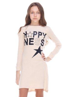 Сукня кремового кольору принт   3839980
