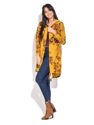 Кардиган жовтий з квітковим принтом | 3909277