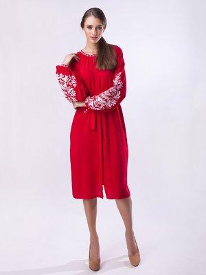 Сукня червона з вишивкою | 3910877