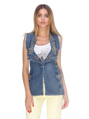 Жилет синий джинсовый с декором | 2638754