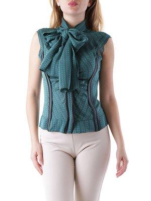 Блуза зеленая в принт | 3920964