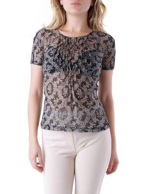 Блуза чорна з принтом | 3921027