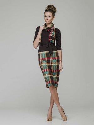 Комплект: джемпер, спідниця і шарф | 3940424