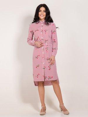 Платье розовое в полоску и принт | 3929769