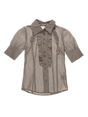 Блуза сіра з рюшами | 1107630