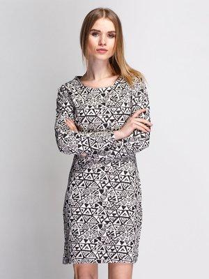 Платье бежево-черное в орнамент | 3767205
