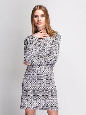 Сукня біло-чорна в орнамент | 3767206