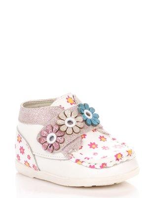 Ботинки белые с цветочным принтом | 3919031