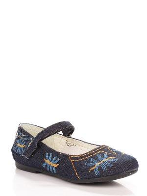 Туфли синие с вышивкой | 3919099