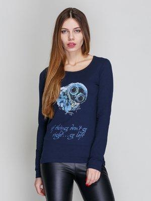 Джемпер синій з принтом | 3956788