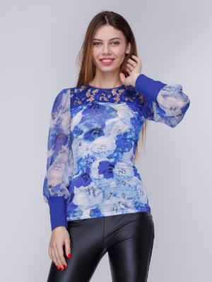 Блуза синяя в цветочный принт | 3956794