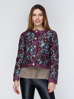 Куртка фиолетово-бирюзовая с цветочным рисунком | 3958922