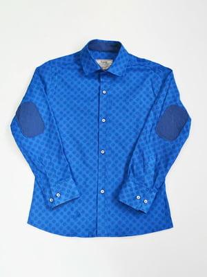 Сорочка яскраво-синя в принт | 3960858
