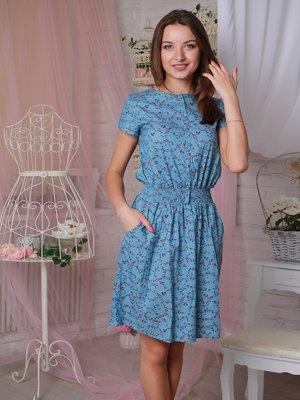 Платье голубое в принт | 3963721