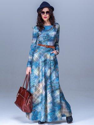 Платье синее в принт | 1442637