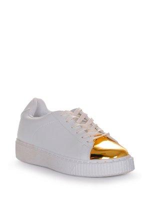 Кроссовки бело-золотистые   3958026