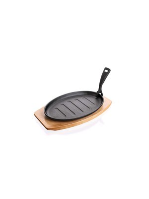Порционная чугунная сковорода (27х17,5 см) на подставке | 3971703