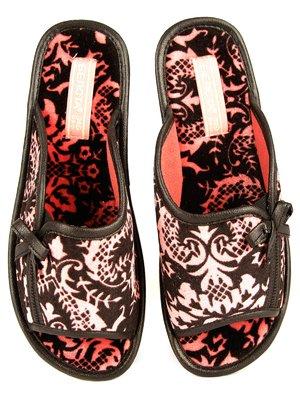 Тапочки чорно-рожеві в принт | 3953790