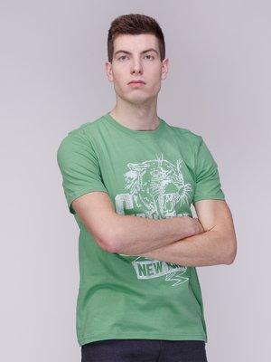 Футболка зеленая в принт | 3309097