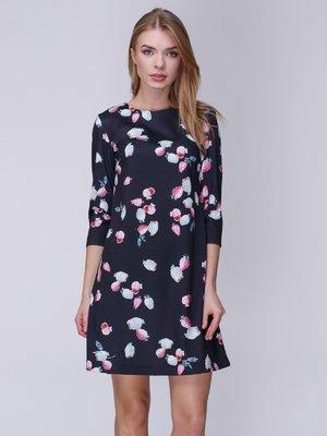 Сукня чорна в принт | 3976671