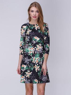 Сукня чорна в принт | 3976679