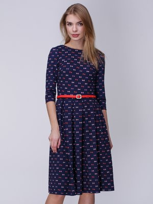 Платье темно-синее в принт | 3988920