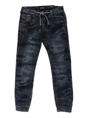 Джинсы синие в камуфляжный принт | 3957874