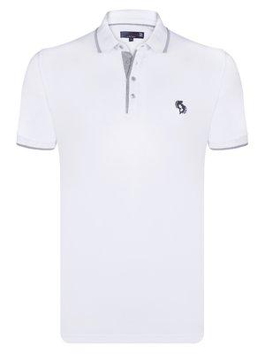 Футболка-поло бело-серая   3989695