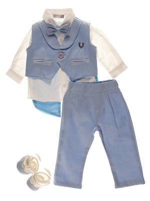 Комплект: сорочка, жилет, штани, пінетки і метелик | 3867041