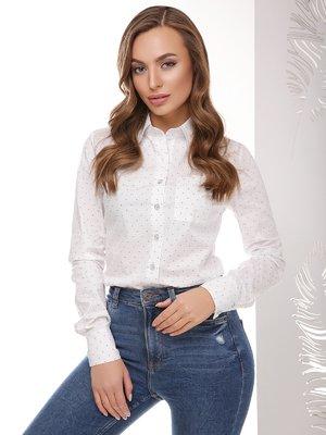 Рубашка белая с принтом   3999825
