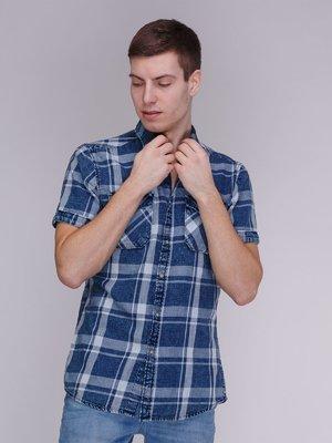 Рубашка синяя в клетку | 3984132