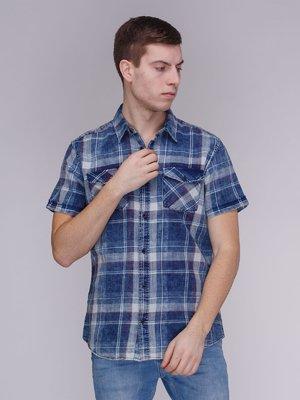Рубашка синяя в клетку | 3984134