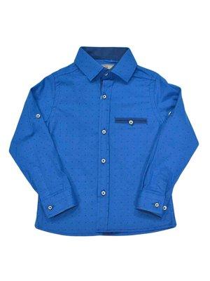 Сорочка яскраво-синя в принт | 3960884