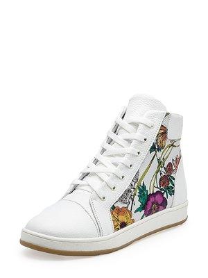Кеди білі з квітковим принтом | 4010007