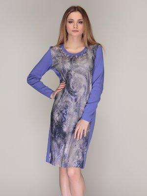 Сукня фіолетова в принт | 4009782