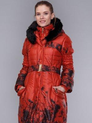 Пальто теракотово-чорне | 4009008