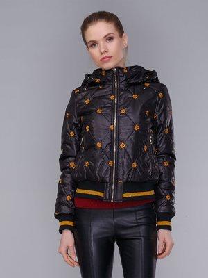Куртка чорна в принт | 4009006