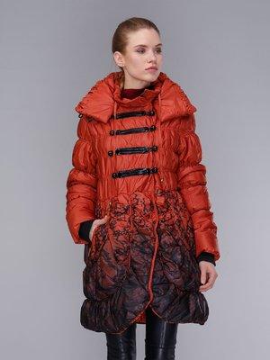 Пальто теракотово-чорне | 4009005