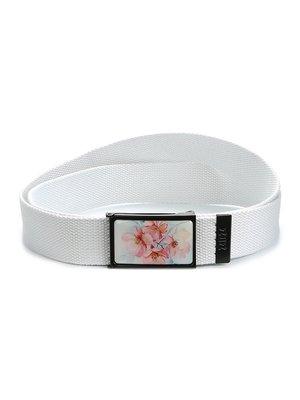 Ремень-стропа белый с цветочным принтом | 4034348