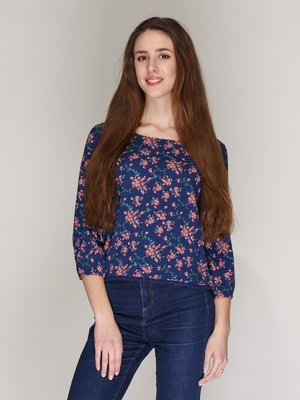 Блуза синяя в цветочный принт | 2992357