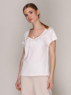 Блуза белая с бантиком | 371079