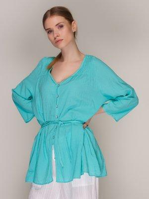 Блуза бирюзовая с поясом-завязкой | 371107