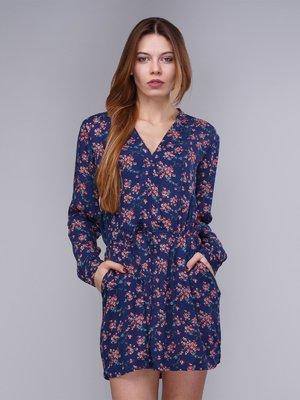 Сукня синя в квітковий принт | 2992435
