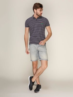 Бриджи голубые джинсовые с эффектом слегка потертых | 1899061