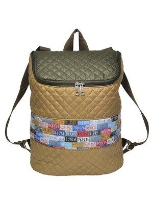 Рюкзак бежево-коричневый с принтом | 3712410