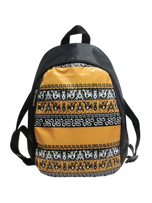 Рюкзак чорний в принт | 4021873