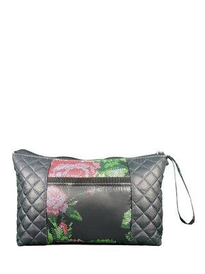 Косметичка черная с цветочным принтом | 3901838