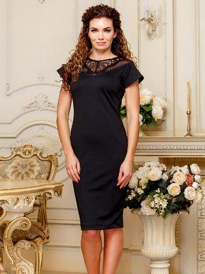Платье черного цвета с кружевом | 4033997