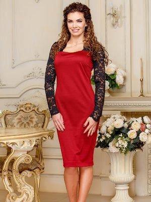 Платье с кружевом с оригинальной спинкой цвета марсала | 4066360