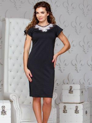 Платье черного цвета с белым кружевом | 4066362